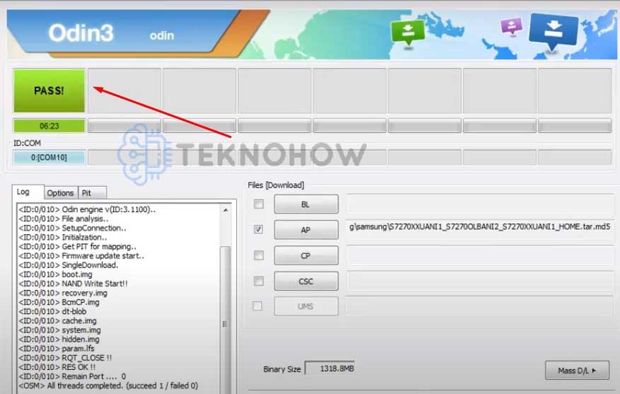 Flash Ulang Samsung GT-S7270 Selesai