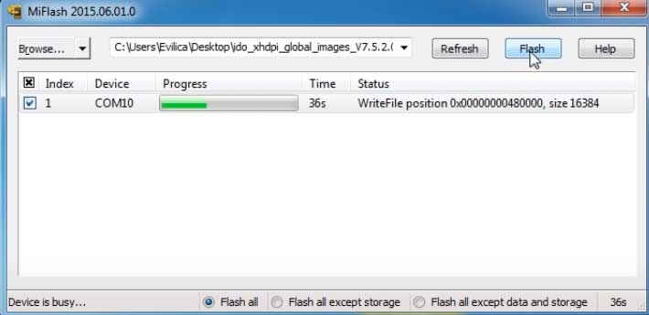 klik flash dan proses flash redmi 3